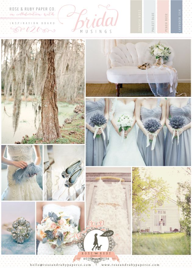 Romantic lavender and pale blue wedding inspiraton board by @Rose Murphy