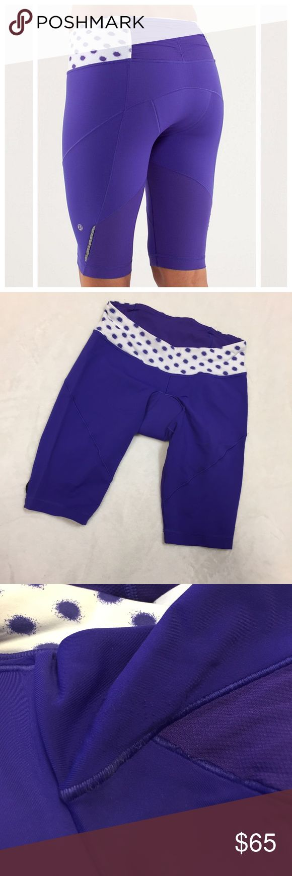 Lululemon Presta Padded Shorts Awesome padded biking shorts from Lululemon!                                                                    Only worn a few times, look brand new.                                 Some pilling on the inside of one thigh, can't be seen while wearing.                                                    Size 6.                                                              Purple with polka dots.                                 Drawstring. lululemon athletica…