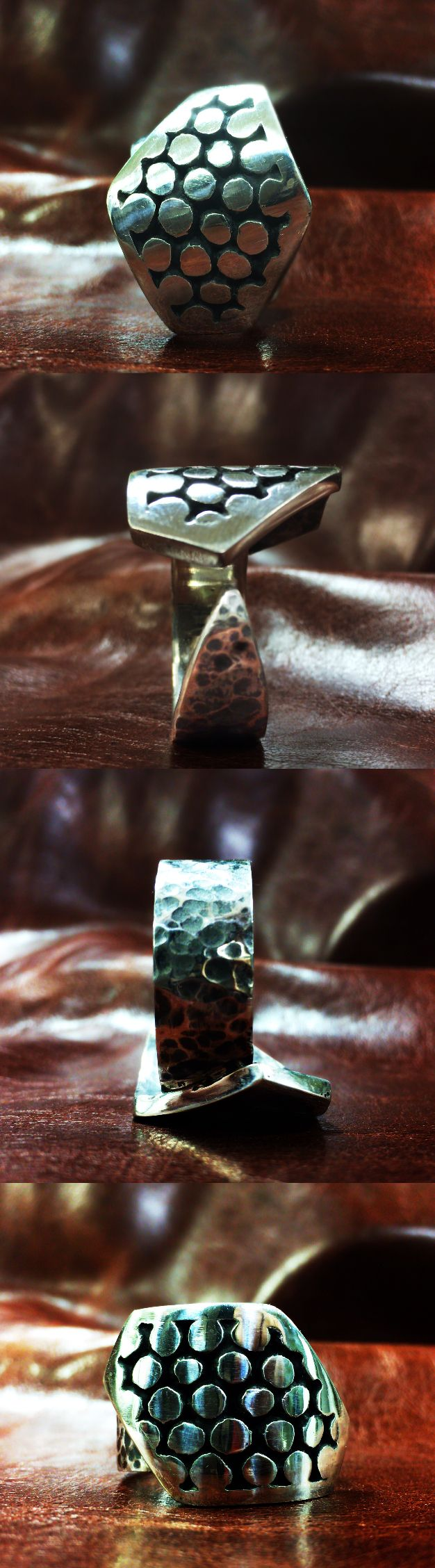 Cosmopolitan Sterling Silver geometric studded ring for men by 969 Design Studio.