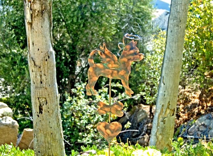 Chihuahua Pet Memorial Garden Art Stake, Metal Yard Art, Copper Pet Memorial  Dog Sculpture