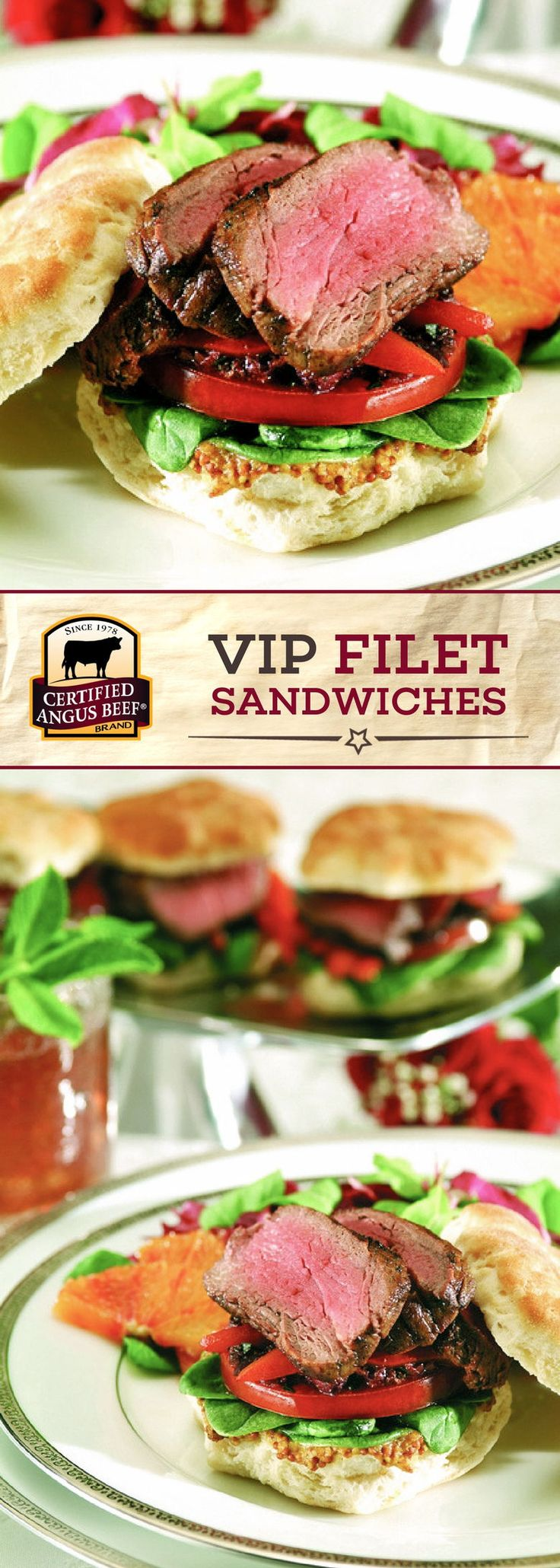 You'll feel like a VIP once you try one of these VIP filet sandwiches! Made with Certified Angus Beef®️ brand tenderloin roast, there's no denying that this sandwich means business. Enjoy tender BEEF on buttermilk biscuits, topped with mustard, spinach leaves, roasted red peppers and tapenade!  #bestangusbeef #certifiedangusbeef #beefrecipe #easyrecipe #sandwichrecipe