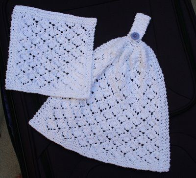 Wishing I was Knitting at the Lake: Bridal Shower Lace Kitchen Hanging Hand Towel