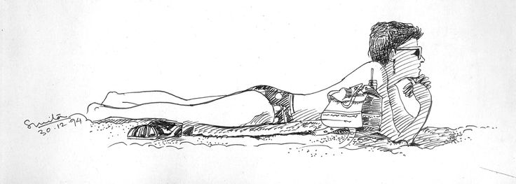 Sketch in pen on location of Lady on Baga beach, Goa, India