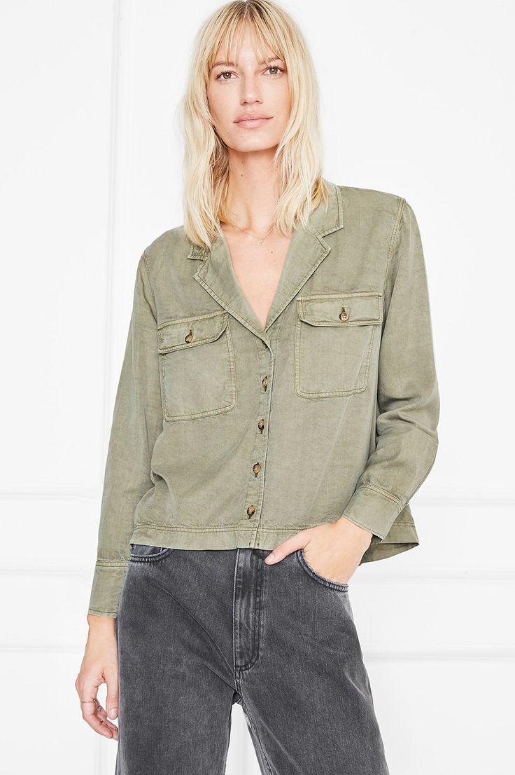 ANINE BING Military shirt in green
