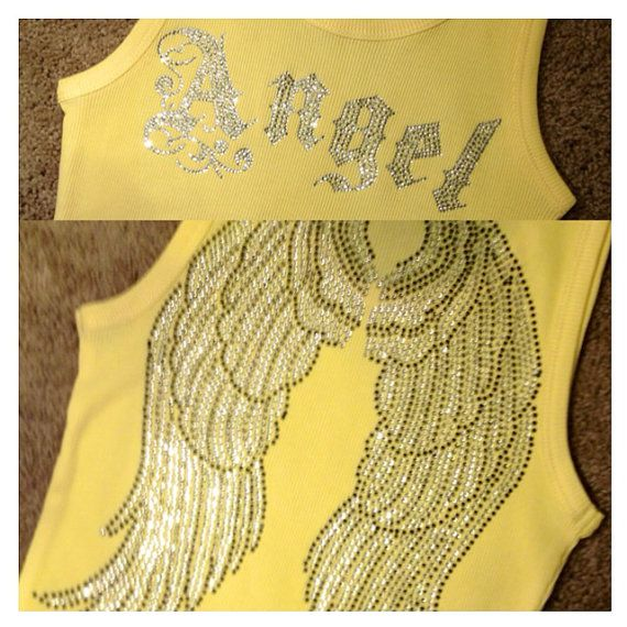 Personalized w/ ANGEL, Hope, or Faith on front w/ Large Angel Wings on back Rhinestone Bling Shirt, S-3XL white pink red aqua on Etsy, $18.95