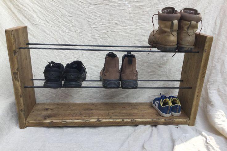 Shoe Rack, Rustic Shoe Rack, Handmade, Wood Shoe Rack, Handmade Shoe Rack, Wood and Steel, Reclaimed Wood, Shoe Storage by SpudsCreativeAsylum on Etsy https://www.etsy.com/listing/269097322/shoe-rack-rustic-shoe-rack-handmade-wood