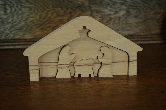 Natural Wood Nativity Puzzle Set Christmas Unfinished