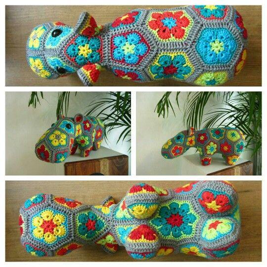 Hippo crochet / nijlpaard haken / african flower