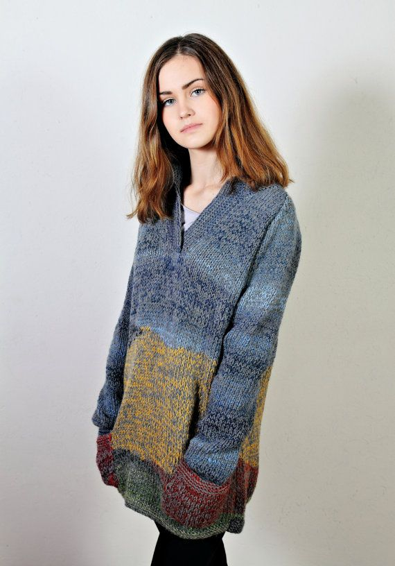 Wheat Field with Crows  Polo neck sweater  by Isabellwoolstudio # HandKnitsweater #OrginalSweater