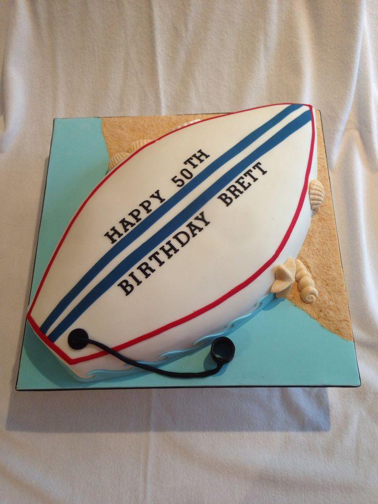Surfboard Cake. I think I like half wave/half sand ~Coach Courtney