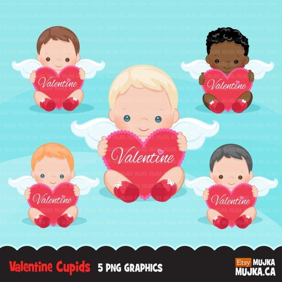 Valentine S Day Cupids Clipart With Hearts Angel Boys Etsy Valentine Baby Scrapbooking Set Clip Art