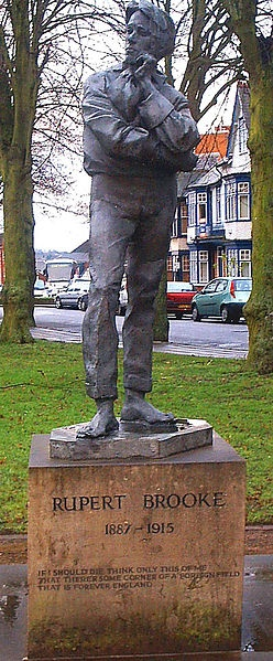 The statue of Rupert Brooke the poet. Rugby Warwickshire. 1887-1915.