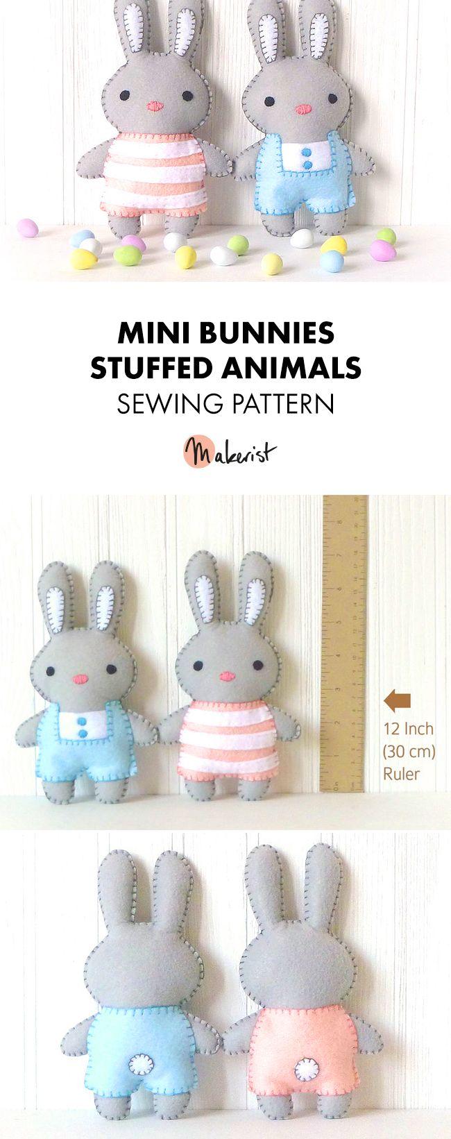 Cute Mini Bunnies- Sewing Pattern via Makerist.com   #stuffedanimal #kidstoys #diy #sewingpattern #sewingwithmakerist