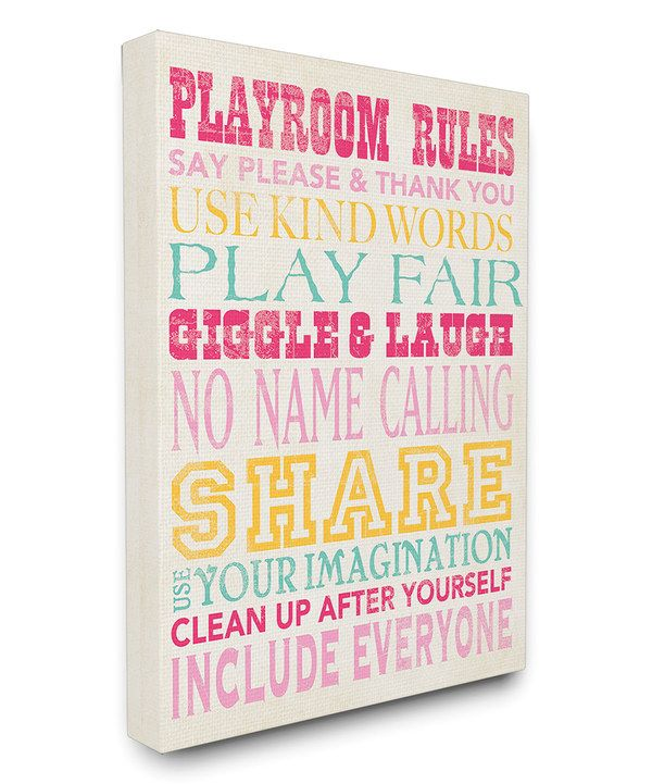 Look at this Pink, Blue & Yellow 'Playroom Rules' Wrapped Canvas on #zulily today!