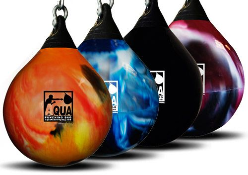 21 inch, 190 pound Aqua punching heavy bag. The water filled teardrop shape allows you to deliver powerful combinations including deep uppercuts!