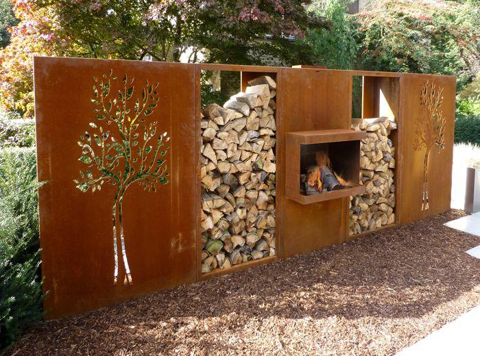 Openhaard En Houtopslag Set By Abk Outdoor Com Sichtschutzzaun Garten Sichtschutz Garten Trennwand Garten