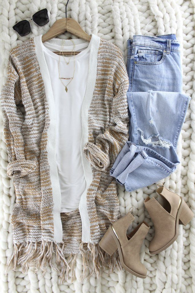 Jacquard Pattern Sweater Cardi. Amber colored mixed with cream makes this warm and cozy sweater one to wear on repeat and Fall and Winter Long! Fall outfit inspo. Winter wardrobe classics. Open front cardigan with fringe detail. therollinj.com