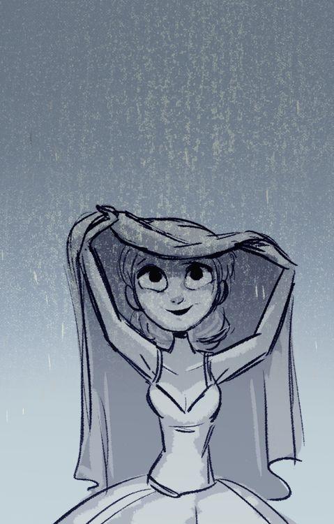 Raining! #girl / Pioggia! #ragazza - Illust. by Miranda Yeo #artofmirandayeo