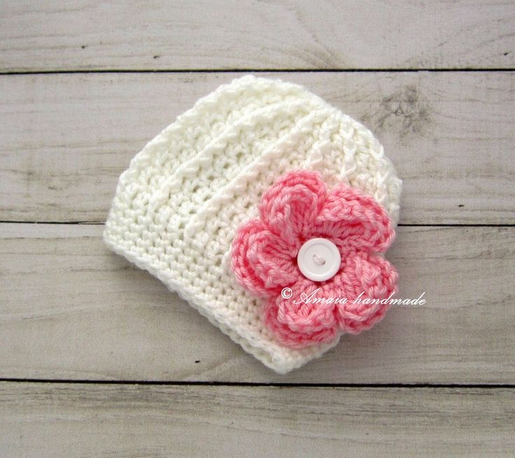 Baby flower hat, crochet flower hat, baby flower beanie, white flower hat, crochet baby hat, baby girl hat, baby girl christening hat by Amaiahandmade on Etsy