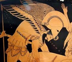 Detail of Hypnos on the front of the Euphronios Krater in the Metropolitan Museum of Art,