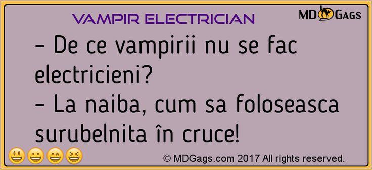 – De ce vampirii nu se fac electricieni?  – La naiba, cum sa foloseasca surubelnita în cruce!..     #Bancuri cu vampiri