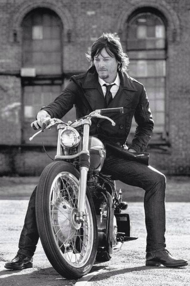 Norman Reedus - Daryl Dixon on a motorcycle and in a suit... excuse me while I melt from all the hottness