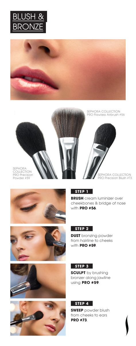 PRO Brush HOW TO: Blush & Bronze #Brushing Up #SephoraBronze, Face, Skin Care, Beautiful Tutorials, Makeup Tips, Brushes, Apply Blushes, Beautiful Tips, Hair