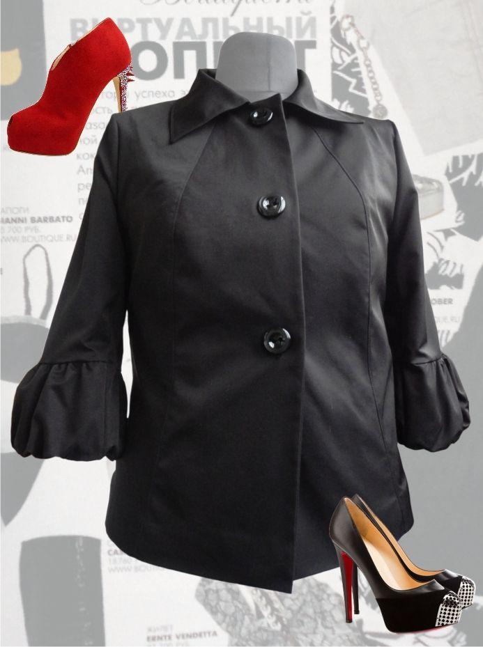 """50$ Болеро для полных женщин """"Тюльпан"""" черного цвета Артикул 410, р50-64 Болеро из ткани большие размеры"""