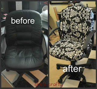So need to do this to my chair!  (From she's crafty blog): Idea, Craft, Offices, Chair Redo, Office Chairs, Recovered Office, Diy