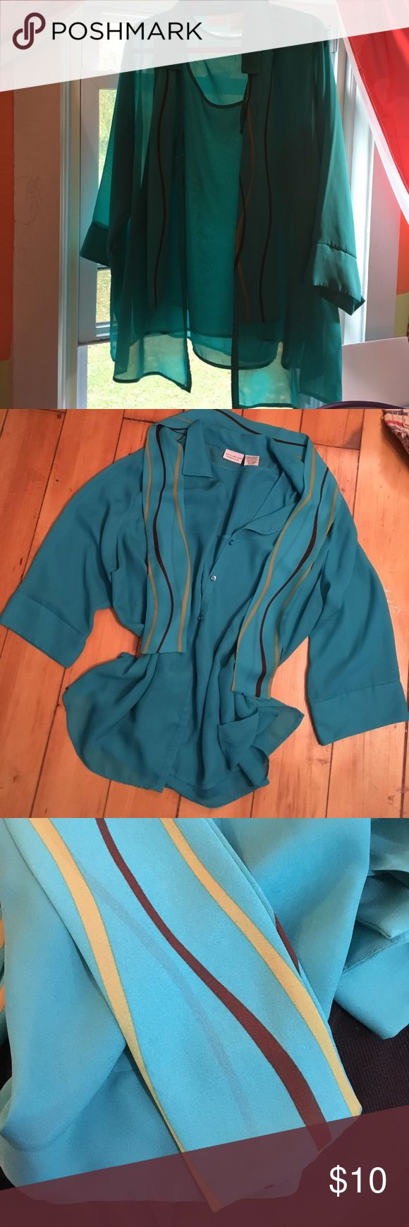3Piece Plus Size Blouse Sleeveless blouse with over blouse and sash/tie. Teal color, worn very little. Easy care machine wash cold hang to dry or dryer low. 100% polyester. Great for travel! White Stag Tops Blouses