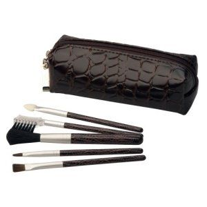 Make Me Up Brown Crocodile Cosmetic Brush Set, 5pc