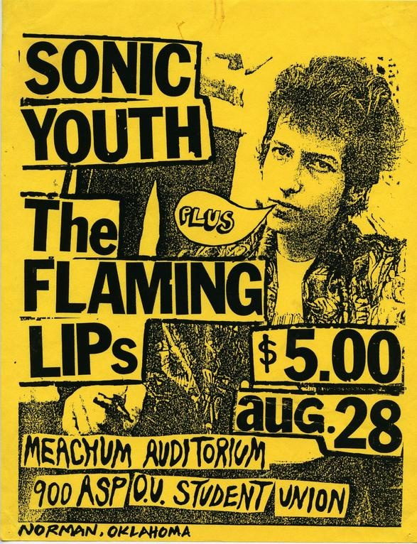 sonic youth and the flaming lips in norman okla concert posters
