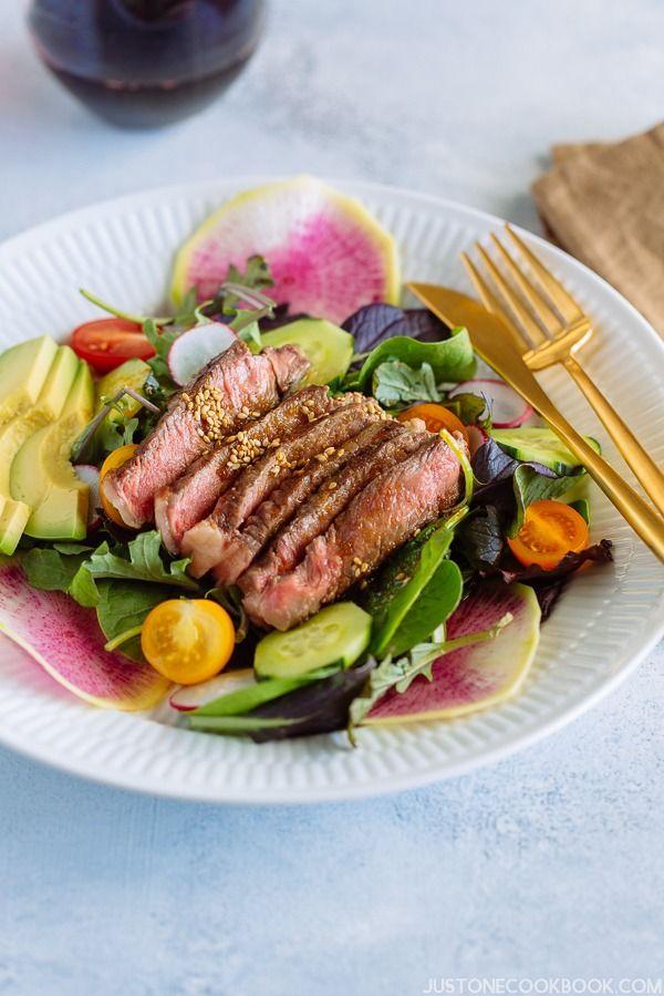 Steak Salad with Shoyu Dressing ステーキサラダ醤油ドレッシング | Easy Japanese Recipes at JustOneCookbook.com