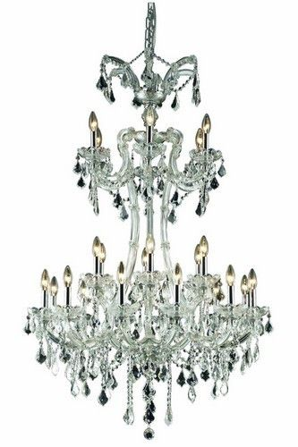 2800 Maria Theresa Collection Large Hanging Fixture H50in D32in Lt:24 Chrome Finish. 2800 Maria Theresa Collection Large Hanging Fixture H50in D32in Lt:24 Chrome Finish (Royal Cut Crystals) Watts:Lumens:Lamp Type:Shape:Style:TransitionalLight Bulbs:24Bulb Type:E12Bulb Wattage:40Max Wattage:960Voltage:110V-125VFinish:ChromeCrystal Trim:Royal CutCrystal Color:Crystal (Clear)Hanging Weight:115Case Pack: 1Color: Crystal (Clear)