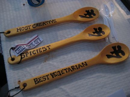 Decorated Prize spoons instead of trophies or Attach award ribbons to small, medium and large bottles of hot sauce