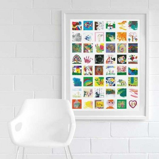Great way to display kids artwork.  Scan several pieces and create a collage.