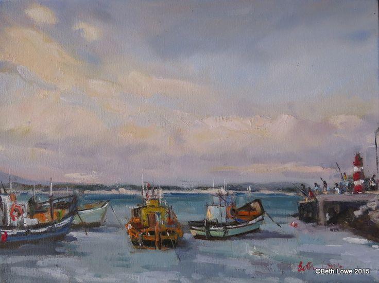 Struisbaai boats Oil on canvas 300x400mm
