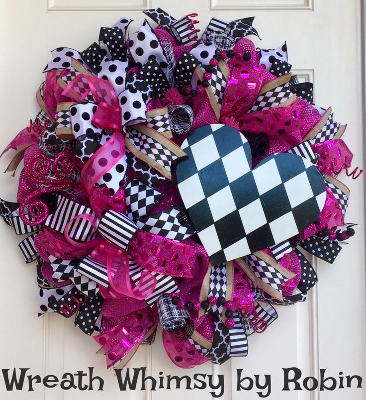Harlequin Heart Deco Mesh Valentine's Day Wreath in Pink, Black and White, Front Door Wreath, Valentine's Day Decor, Heart Wreath by WreathWhimsybyRobin on Etsy