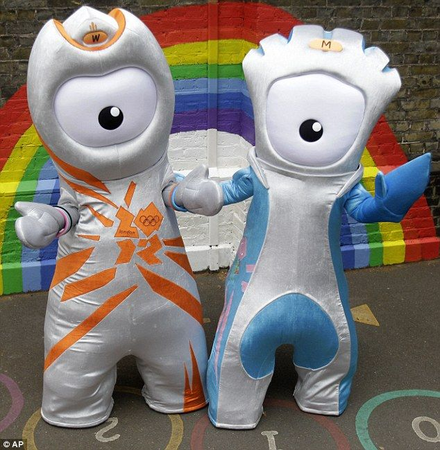 New mascots: The Olympic mascot Wenlock, left, and the Paralympic mascot Mandeville are unveiled in East London today. They were created from 'two drops of steel from the Olympic Stadium' #Olympics
