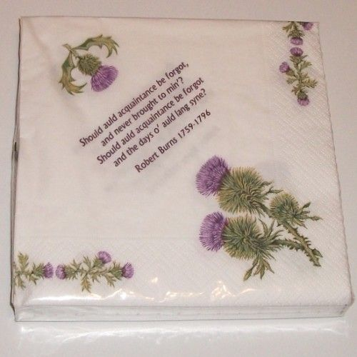 Robert Burns poems and thistles paper napkins (Pack of 20)