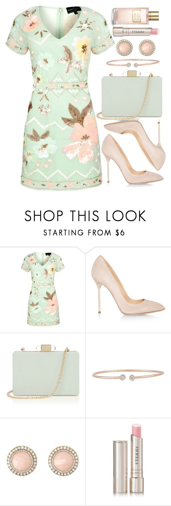 """""""Untitled #4367"""" by natalyasidunova ❤ liked on Polyvore featuring Needle & Thread, Sergio Rossi, Oasis, Forevermark, Charlotte Russe, By Terry and Estée Lauder"""