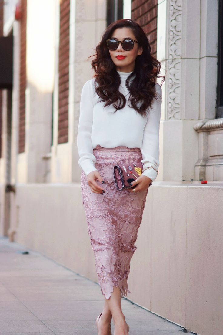 Lace Pencil Skirt and High Neck Silk Top