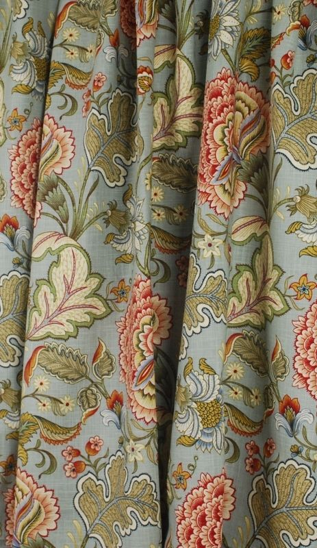Blue Green Rust Jacobean Floral Drapery Fabric