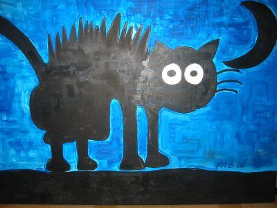 Author: Mandy Galambos. Katze bei Nacht