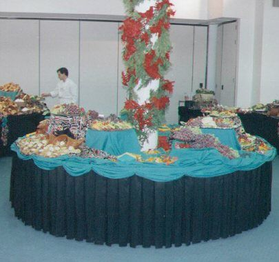 Buffet Table Around Column Wedding Reception