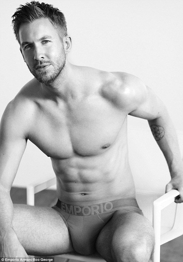 The 31-year-old DJ stripped down to his underwear for the shoot by Boo George...