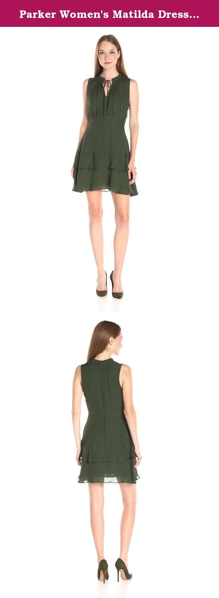 Parker Women's Matilda Dress, Sage, Small. Sleeveless tiered dress with tie neck detail. Side zipper closure. 100 percent silk.