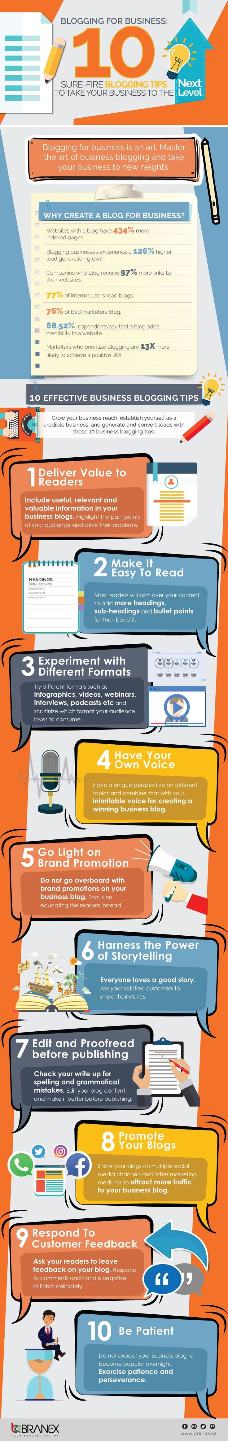 Blogging For Business: 10 Sure-Fire Blogging Tips To Take Your Business To The Next Level - #infographic
