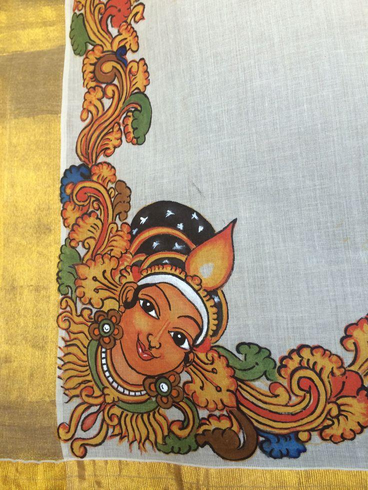 Mural painting on kasavu Saree