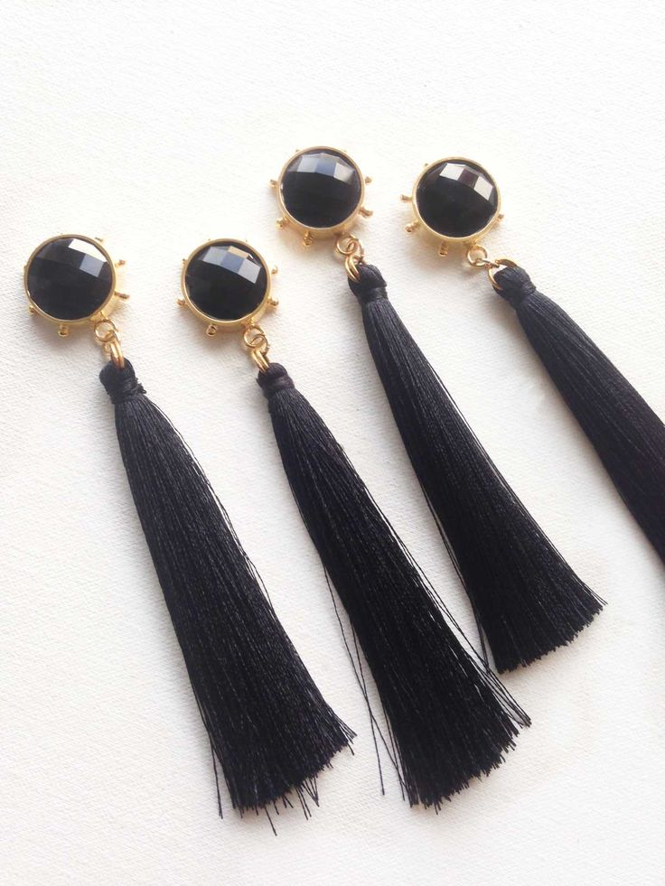 #black #earrings #goldplated #fringeearrings